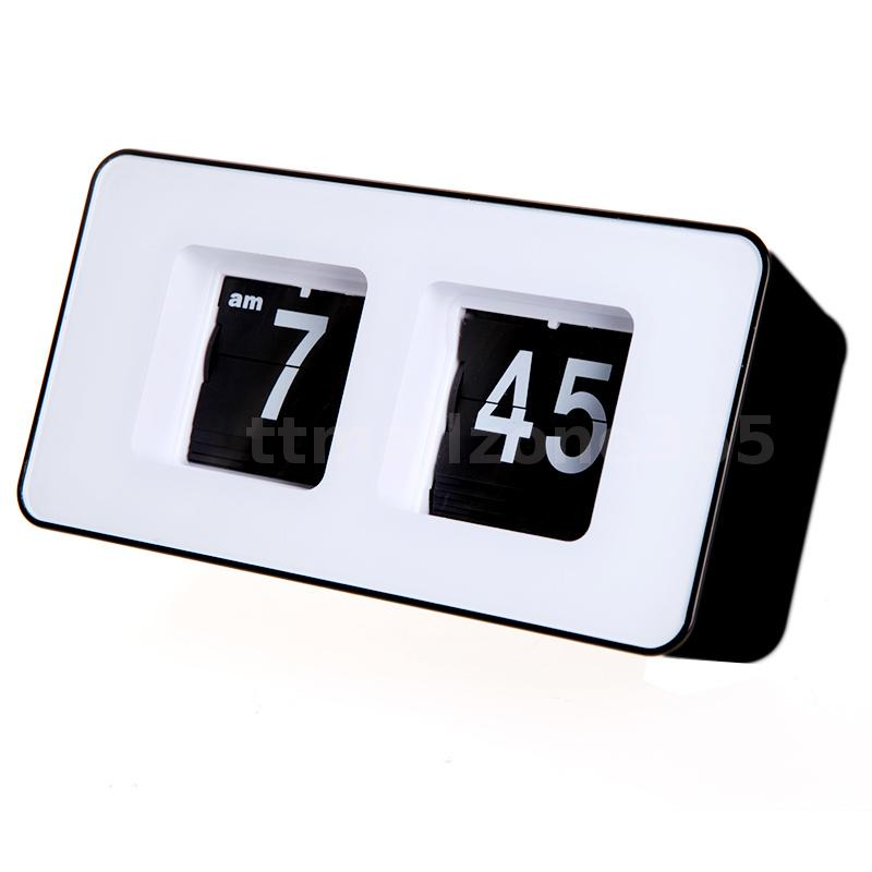 Retro auto flip clock classic stylish modern desk wall White flip clock