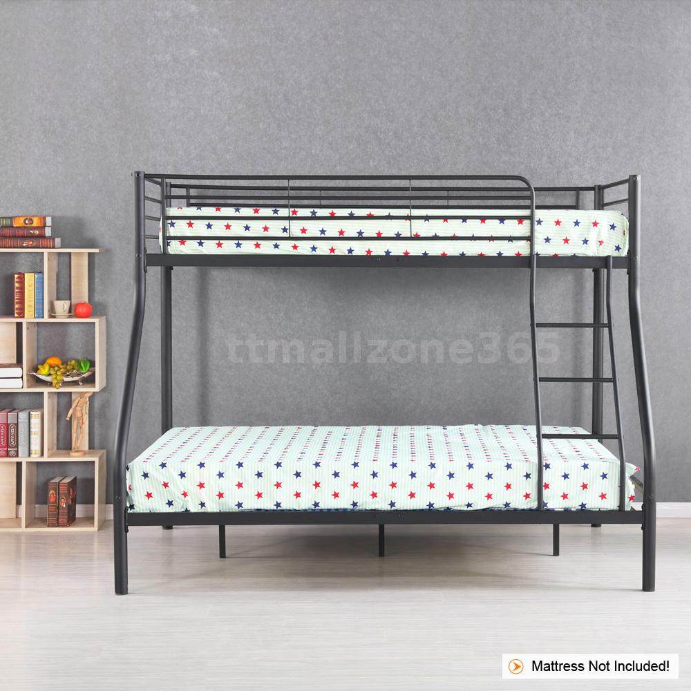 ikayaa twin over full bunk metal bed frame bedroom dorm heavy duty w4z4 ebay. Black Bedroom Furniture Sets. Home Design Ideas