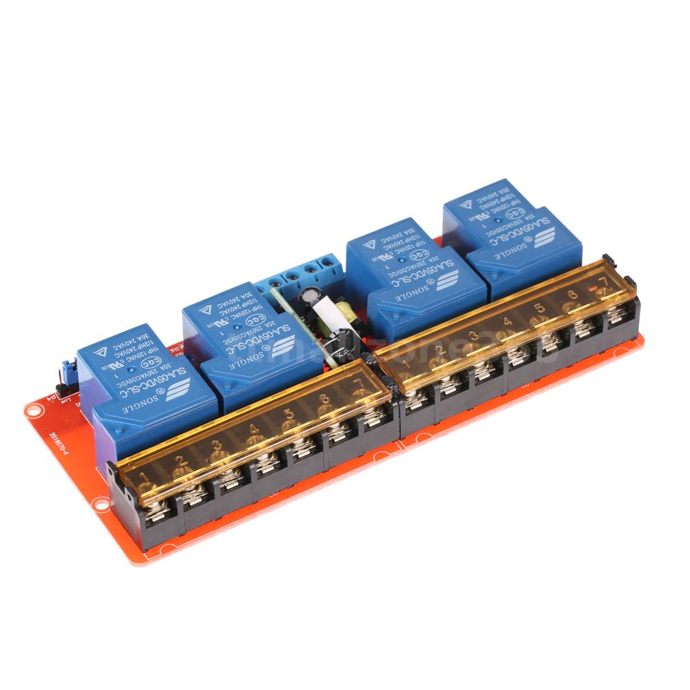 4 Channel 250vac 30a Solid State Relay Module Board High Low Level Isolated Power 250v Quality Input Supply Dc 5v Or Ac 100 Isolation Modulenot Included Has Been Assembled And More Convenient For