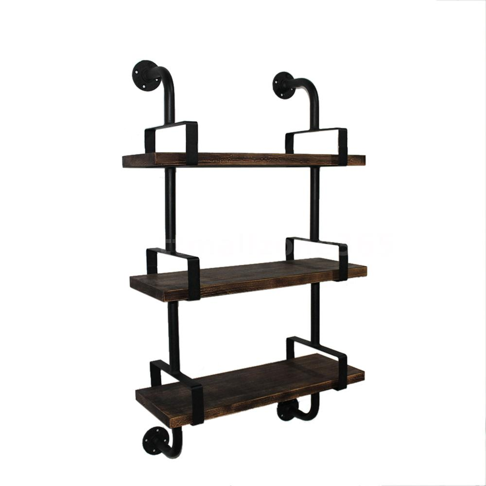 Bedroom kitchen 3 tier rustic industrial iron pipe wall shelves looking for a stylish utility shelf look no further than ikayaa rustic industrial wall shelf with wood planks this charming shelf features rust colored amipublicfo Image collections