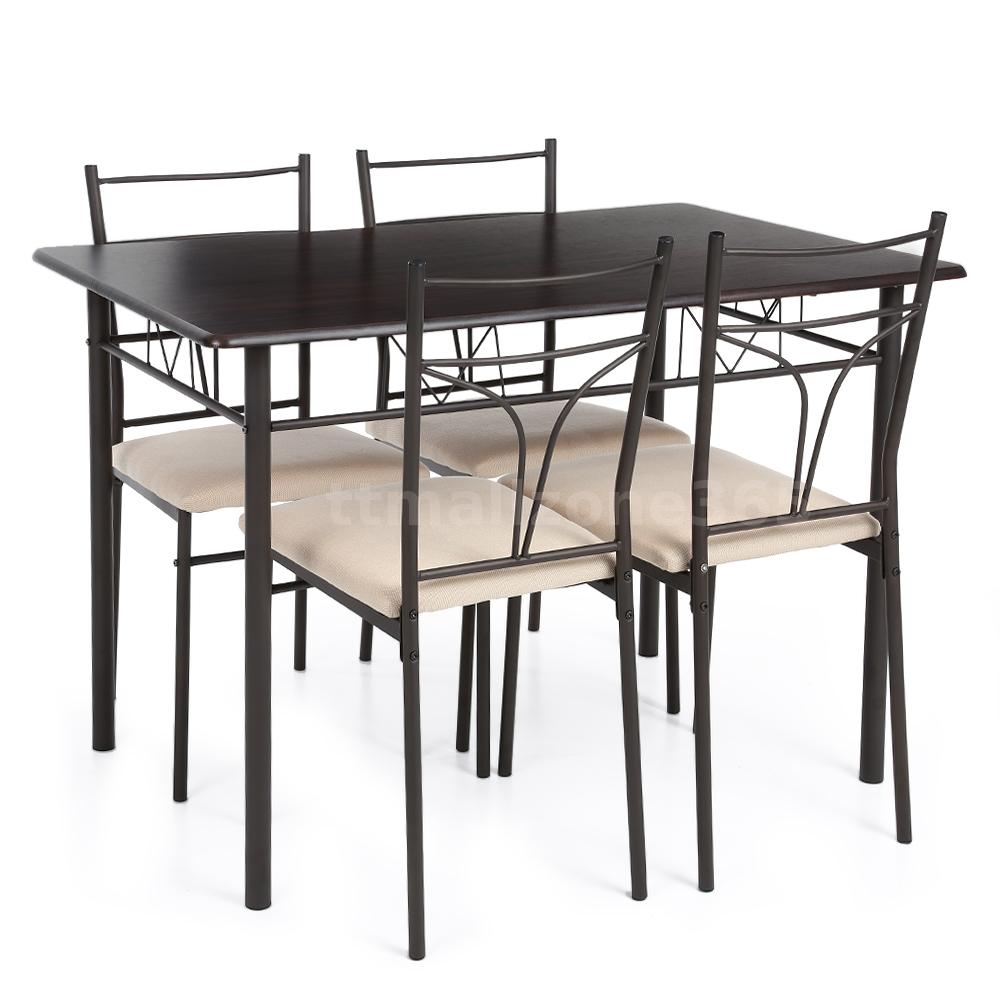 5pcs stunning metal dining table and 4 chairs set kitchen furniture ikayaa i6i8 ebay - Steel kitchen tables ...