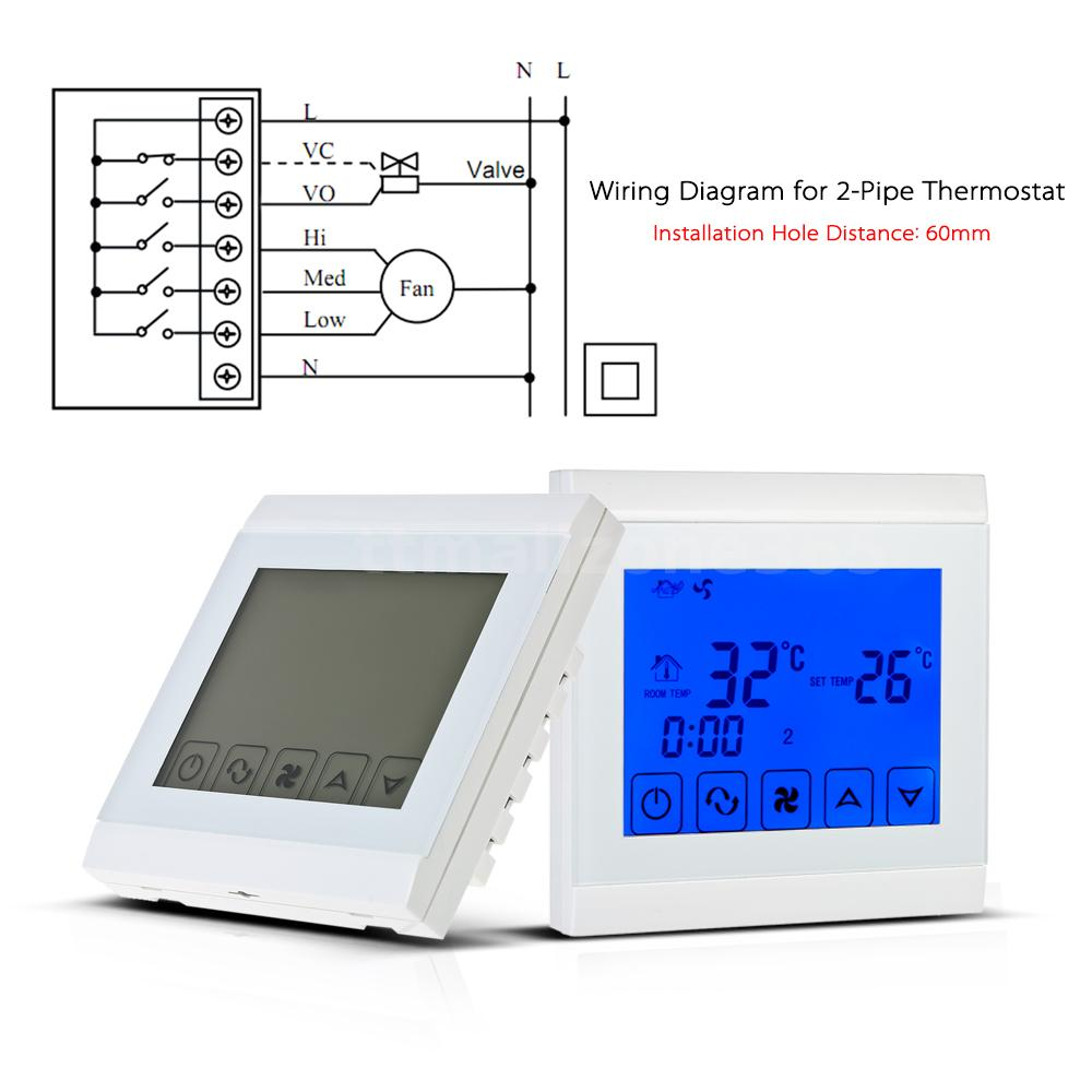110 130v Air Conditioner 2 Pipe Thermostat With Lcd Display Good Fcu Wiring Diagram Large Touch Screen This Durable And Reliable Designed For Fan Coil Unit Or Wind System Of Central Condition