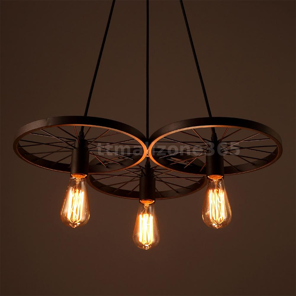 Lixada 3 arms e27 hanging metal pendant light retro for Metal hanging lights
