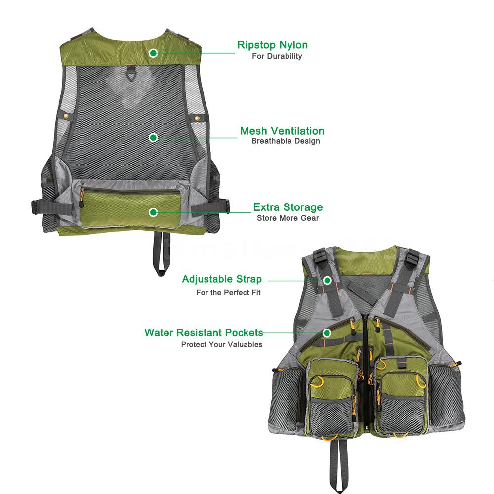 Outdoor adjustable fly fishing vest mesh premium gear for Pro fishing gear