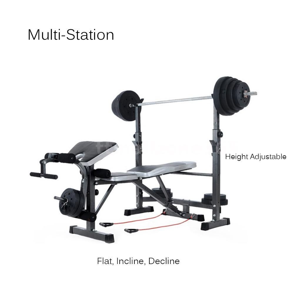 Weight Bench Press Incline Flat Decline Sit Up Barbell